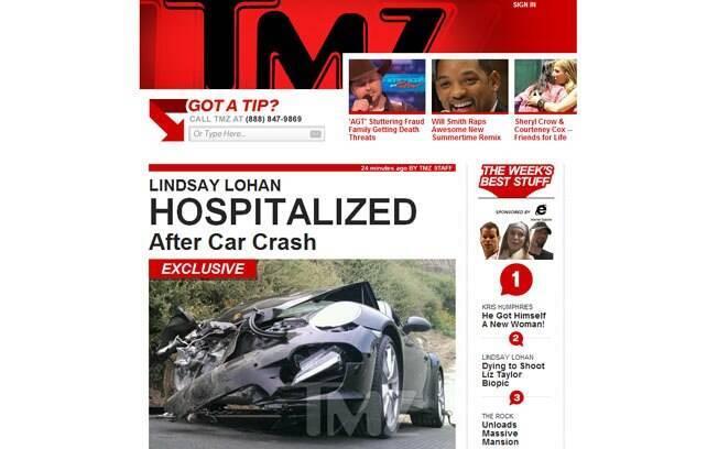 Carro de Lindsay Lohan após colisão com um ônibus nesta sexta-feira (08), em Los Angeles
