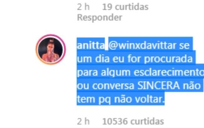 Resposta de Anitta