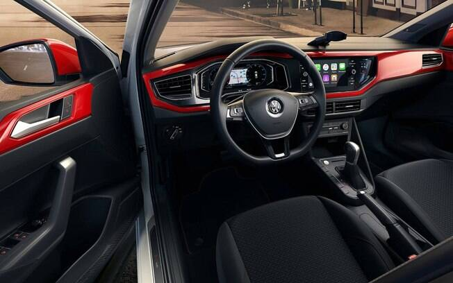 VW Polo Beats vem com painel pintado de vermelho quando vem com o pacote