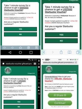 De acordo com a mensagem, a Starbucks estaria dando de presente R$500, a ser trocados por produtos da marca nas lojas da rede