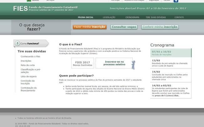 Para concorrer a uma vaga, é preciso acessar o site do programa; limite mensal do Fies passou de R$ 7 mil para R$ 5 mil