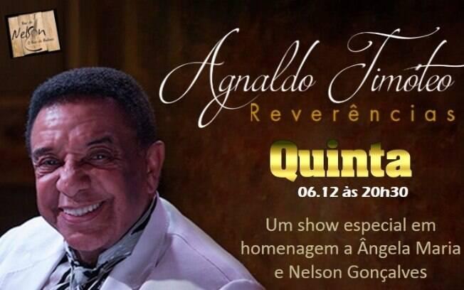 Agnaldo Timóteo fará show um dos shows no Bar do Nelson