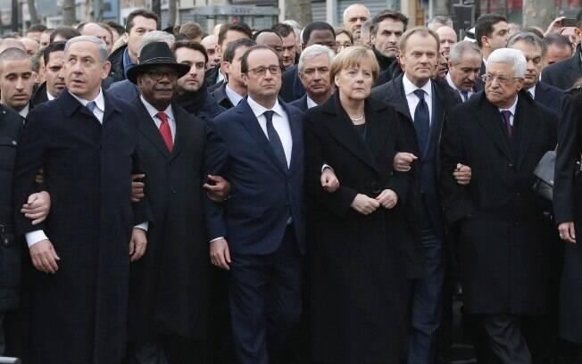 A partir da esq: Benjamin Netanyahu (Israel), Ibrahim Boubacar Keita (Mali), Francois Hollande (presidente da França) e Angela Merkel (Alemanha)