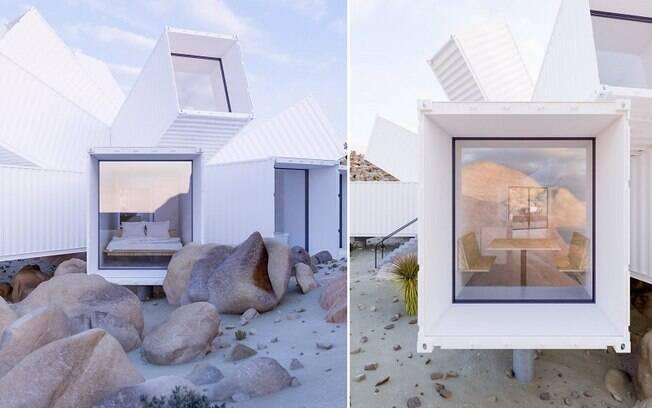 Cada um dos contêiners possui uma janela de vidro na extremidade que aponta para fora da casa, garantindo bastante luz