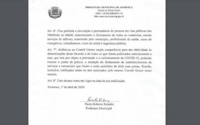 Decisão foi assinada pelo prefeito Paulo Roberto Senador
