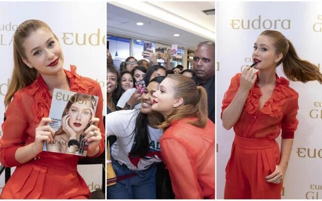 Marina Ruy Barbosa marca presença em evento da Eudora e dá dicas de beleza para o público