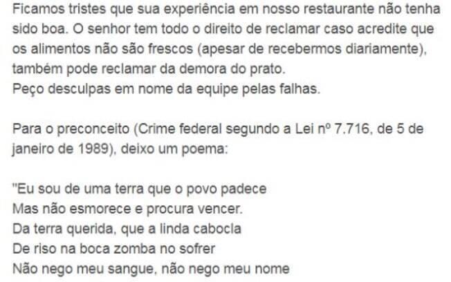 Resposta do sócio do Coco Bambu. em Campinas, repercutiu na internet
