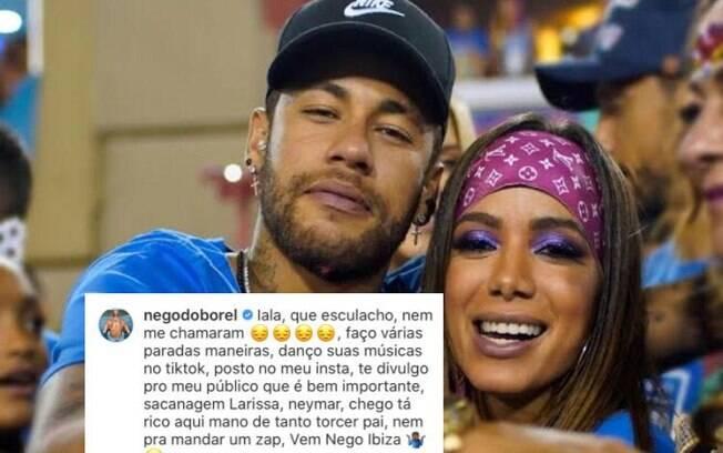 Negão do Borel reclama por não ter sido convidado para viagem com Neymar e Anitta