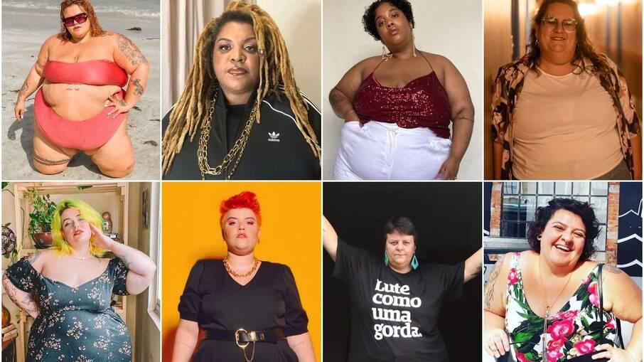 Thais Carla, Ellen Valias, Luana Carvalho, Jéssica Balbino, Juno Vecchi, Gabi Menezes, Malu Jimenez e Agnes Arruda: veja ativistas gordas para seguir abaixo