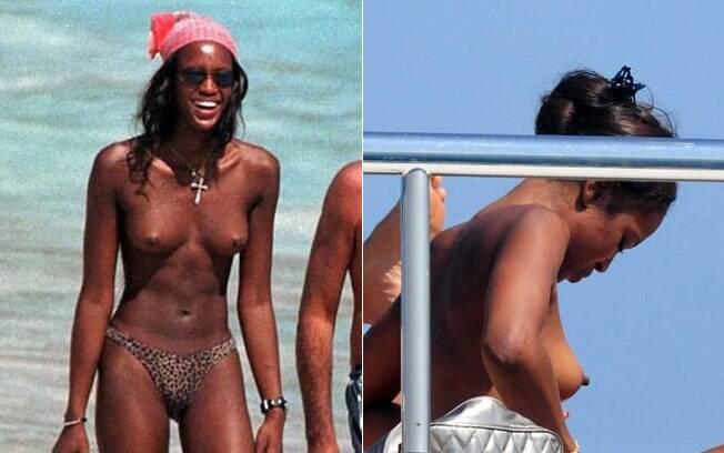 A top inglesa Naomi Campbell não se importa de exibir suas curvas
