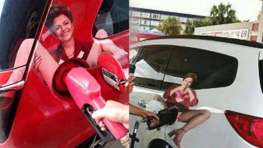 O adesivo citado por Burigo quando os preços da gasolina aumentaram