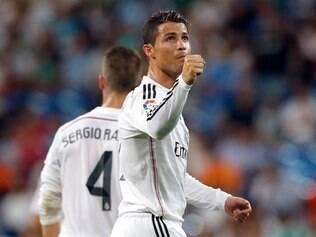Português comemorou o gol que fechou a vitória na estreia do Real pelo Campeonato Espanhol