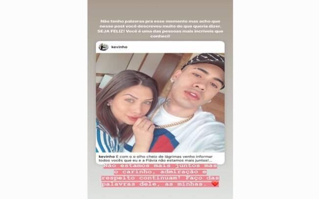 Acaba namoro de Kevinho e Flávia Pavanelli e a atriz compartilha desabafo do agora ex-namorado