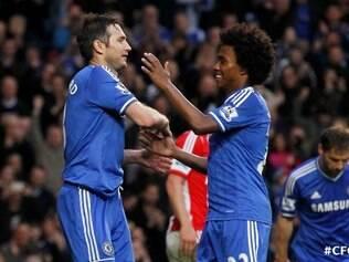 Frank Lampard e Willian fizeram gols na vitória do Chelsea diante do Stoke City