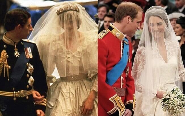 Charles se casou usando o uniforme de gala da Marinha Real. William optou pelo vermelho e preto dos Irish Guards, divisão de elite do exército da rainha
