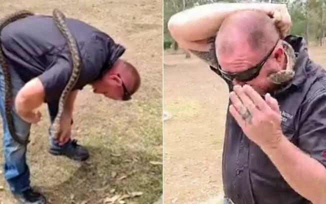 O homem estava manipulando a cobra durante live no Facebook e acabou sendo picado