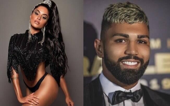 Aline Riscado e Gabigol foram vistos juntos no camarote da Beija-Flor