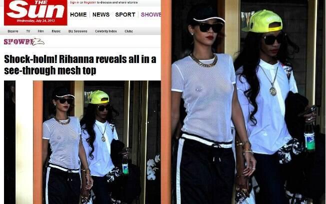 Rihanna foi fotografada na tarde dessa terça-feira (23) com os seios à mostra