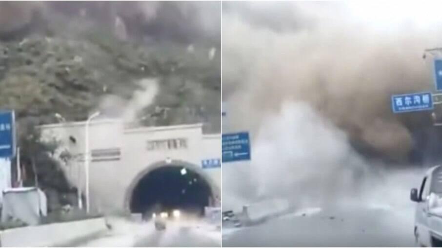 Deslizamento de pedras destruiu entrada de túnel na China