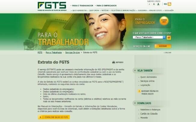 Reprodução do site do FGTS