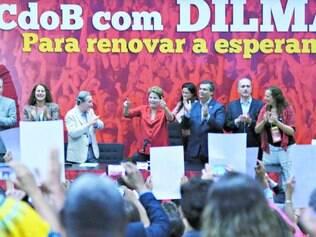 Encontro. Dilma Rousseff participou da convenção nacional do PCdoB, em Brasília, em que o partido confirmou apoio a sua reeleição