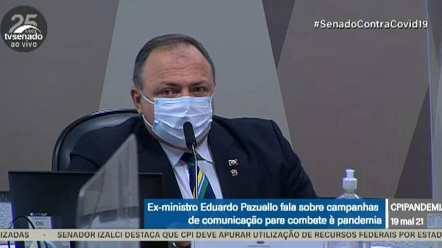 Ex-ministro da Saúde Eduardo Pazuello em depoimento à CPI da Covid