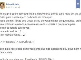 Mensagem postada no perfil fictício da presidente