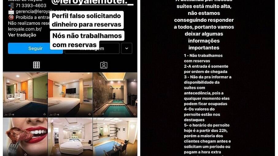 O motel Le Royale esclareceu a seus clientes que não trabalha fazendo reservas