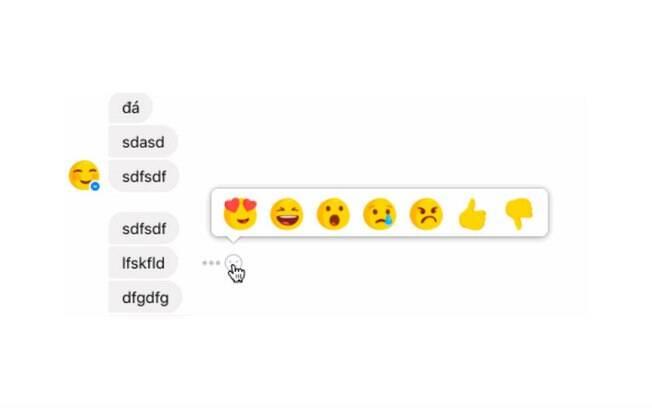 Em testes realizados pelo Facebook, reações foram incluídas no Messenger e seguem a mesma distribuição da rede social