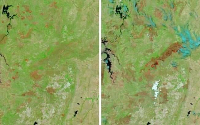 Imagens de satélite mostram a devastação após o incêndio na Chapada dos Veadeiros.