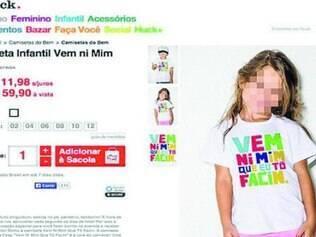 Camiseta da linha infantil gerou indignação nas redes sociais