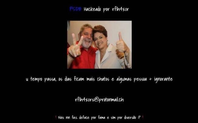 Imagem dos ex-presidentes Lula e Dilma substituiu o conteúdo do site tucano