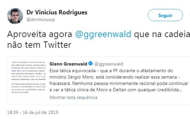 Vinicius Rodrigues usa Twitter para defender o governo Bolsonaro e
