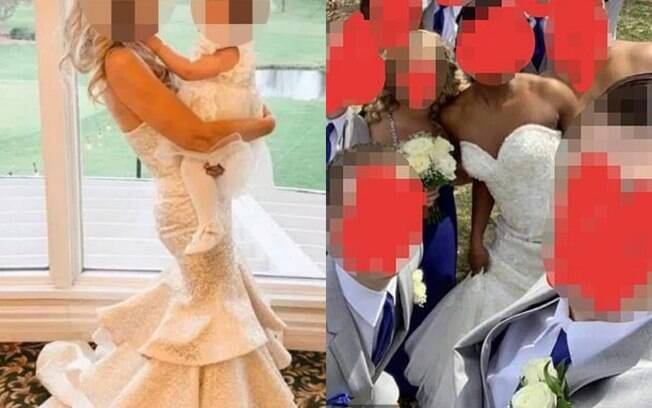 Na esquerda, o vestido da mãe do noivo. Na esquerda, o vestido da noiva