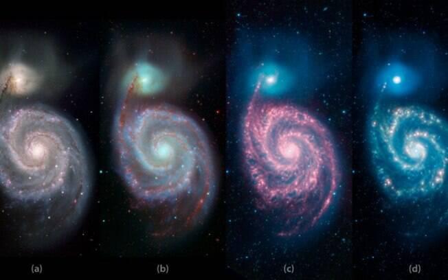 De acordo com o comprimento de onda usado, detalhes diferentes da galáxia surgem