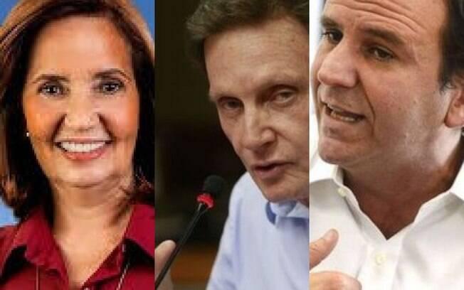 Martha Rochas (PDT), Marcelo Crivella (Republicanos) e Eduardo Paes (DEM)