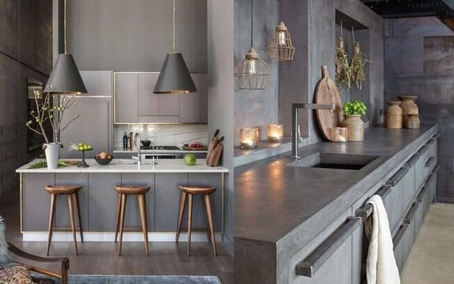 Mais uma cozinha cinza cheia de personalidade e design