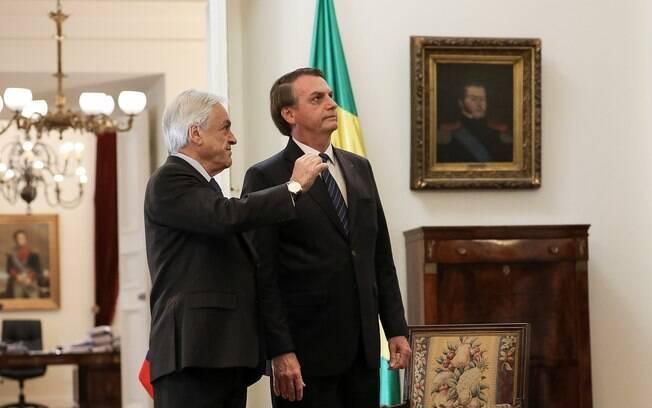 Presidente chileno, Sebastián Piñera, recebeu Bolsonaro em Santiago, em março