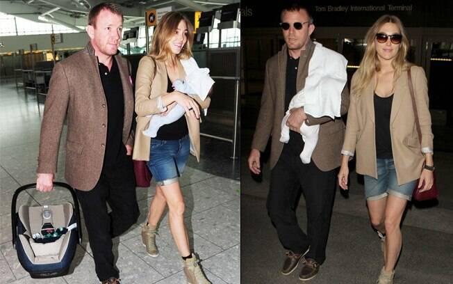 Guy Ritchie com a namorada e o filho no aeroporto de Los Angeles
