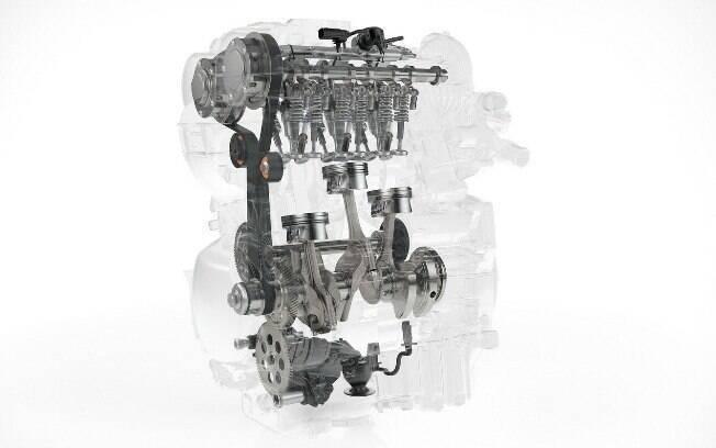 Eis um motor turbo de 3 cilindros, que no caso deste exemplo é o mais novo e último desenvolvimento da Volvo