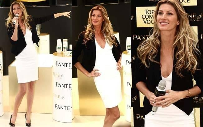 Gisele Bündchen faz aparição-relâmpago em lançamento da Pantene, em São Paulo
