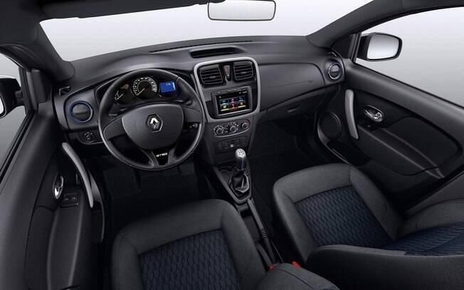 Por dentro, detalhes azuis  do Renault Sandero GT Line 1.0 estão entre os itens exclusivos do carro