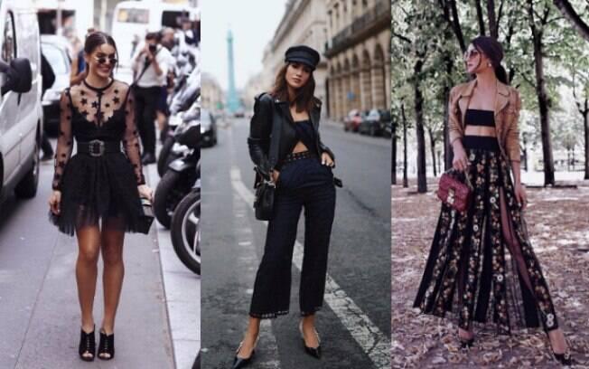 Conhecida pelas maquiagens que faz, Camila Coelho usou o preto como base para montar os looks para a semana em Paris