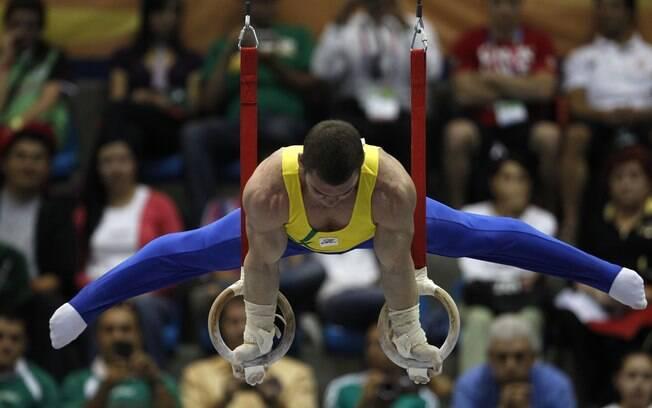 Zanetti conquistou a primeira medalha nas argolas para o Brasil em Pan. Foto: AP