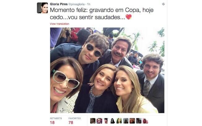 Gloria Pires posta foto em tom de despedida com elenco de