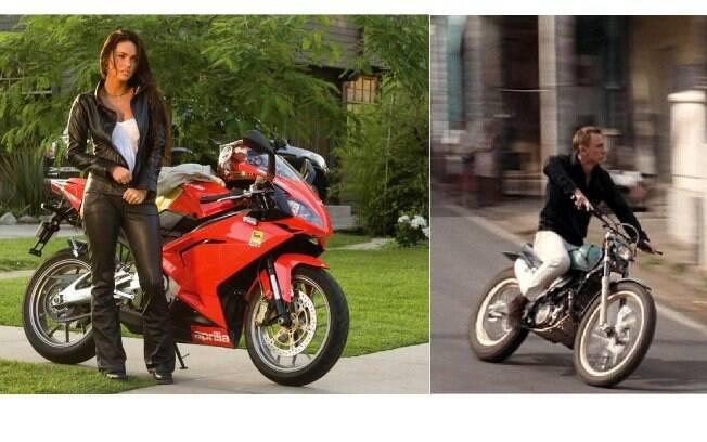 """Megan Fox e sua Aprilia RS 250 em """"Transformers"""" e Daniel Craig na Montesa Cota"""