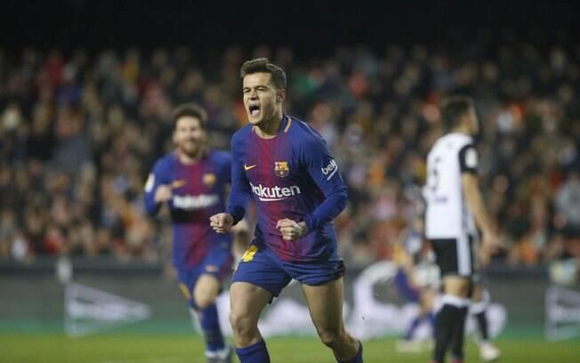 Philippe  Coutinho comemora primeiro gol pelo Barcelona em 8 de fevereiro de 2018
