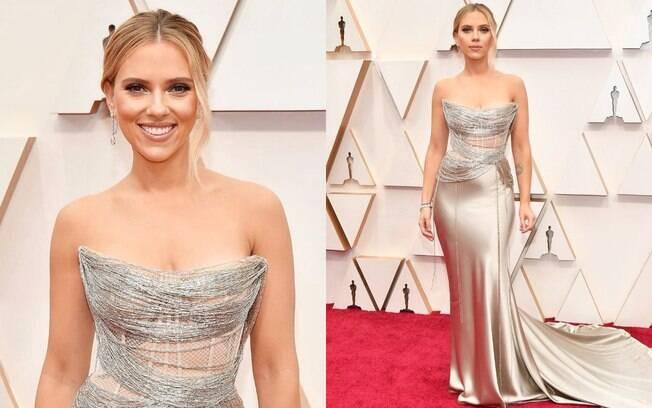 Scarlett Johansson desfilou pelo tapete vermelho do Oscar 2020 com um Oscar de la Renta
