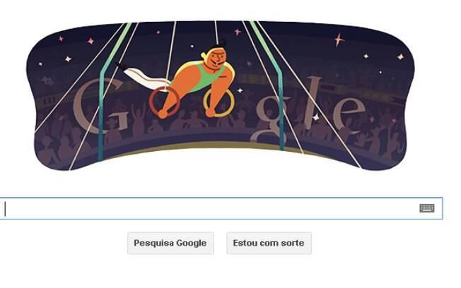 Doodle de 31 de julho mostra atletas da ginástica olímpica usando argolas