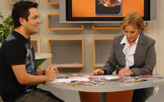 Marcelo Bandeira e Claudete Troiano, durante gravação do programa